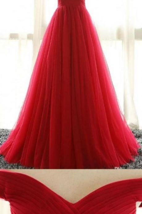 Off the Shoulder Red A Line Prom Dress, Elegant Homecoming Dress, Long Evening Dress
