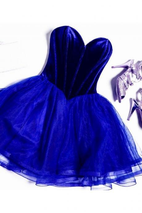 Cute Royal Blue Tulle Short Prom Dress, Royal Blue Homecoming Dress