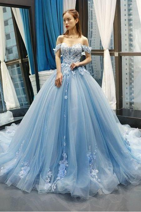Charming Off the Shoulder Tulle Appliques Ball Gown Prom Dress, Formal Evening Dress
