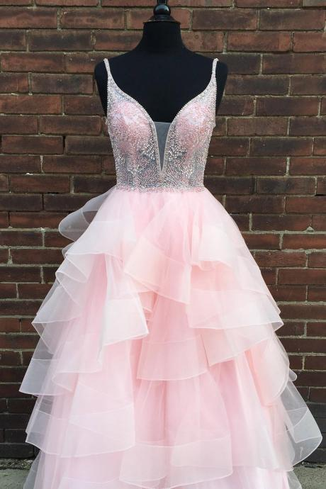 Charming V neck Beaded Pink Tulle Ruffles Prom Dress, Long Evening Party Dress