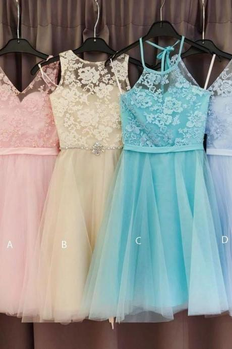 Elegant Tulle A Line Lace Bridesmaid Dress, Short Prom Dress Homecoming Dress