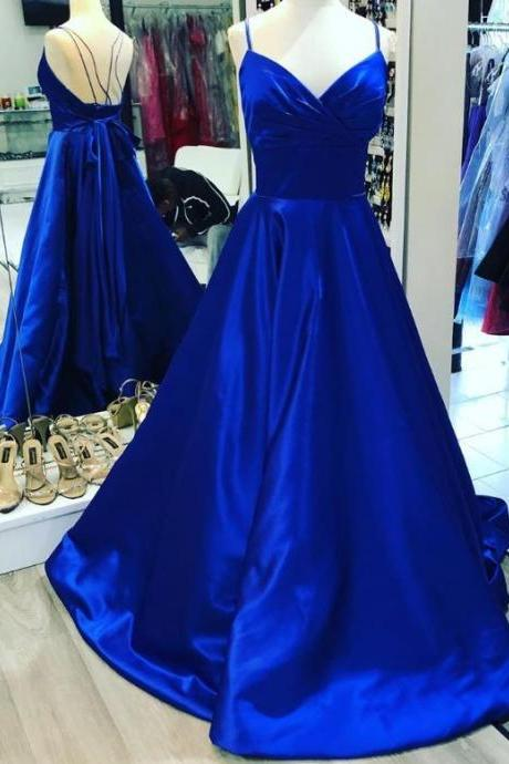 Charming V neck Royal Blue A Line Prom Dress, Long Evening Party Dress