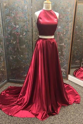 Simple Two Piece Wine Red Long Evening Dress, Burgundy Prom Dresses