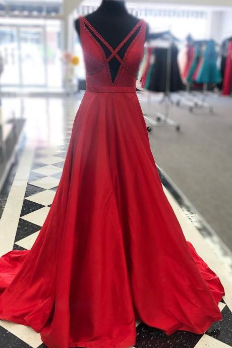 Red Satin V Back A Line Prom Dress, Formal Evening Gown
