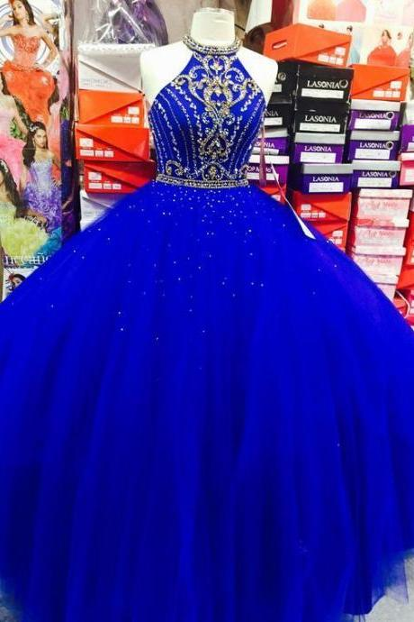 Charming Royal Blue Tulle Ball Gown Prom Dresss, Beaded Quinceanera Dresses, Women Dress