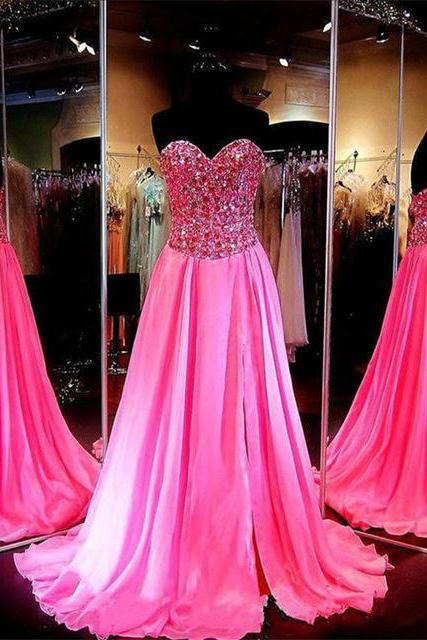 Crystal Prom Dress 2017 Sweetheart Sleeveless Sweep Train Chiffon with Beaded Evening Dress Formal Gown F030