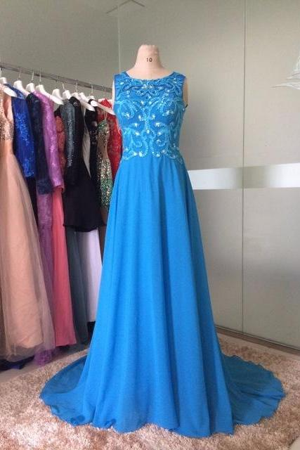 Long Prom Dresses 2017 Scoop Sleeveless Backless Sweep Train Chiffon Crystal Formal Dress Long Party Gown F035