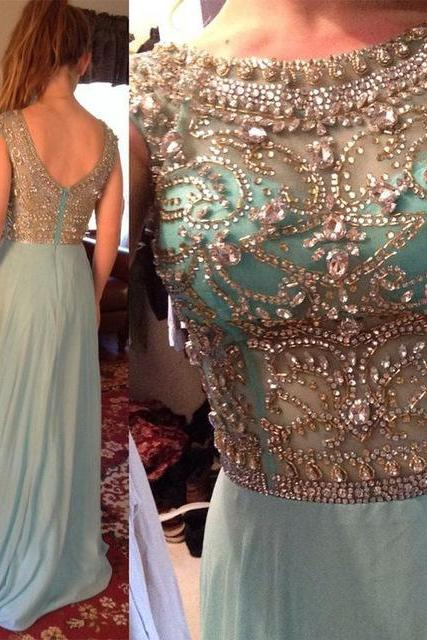 A-line Prom Dresses 2017 Scoop Sleeveless Backless Sweep Train Chiffon with Crystal Beading Party Dress Long Formal Dress F052