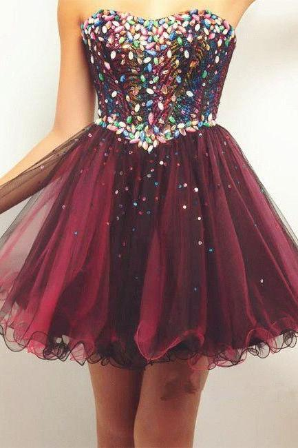 Custom Made Short Prom Dresses,Strapless Sleeveless Tulle with Crystal and Sequins Sexy Party Gowns F051