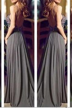 Chiffon Prom Dress with Beading,Sexy Backless Grey Prom Dress,Chiffon Evening Dress,Long Evening Dresses