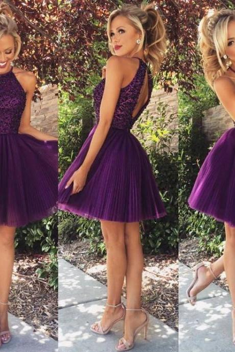New Arrival Short Evening Dress,Halter Prom Dress,Backles Prom Party Gown Dress ,Tulle Homecoming Dress F103