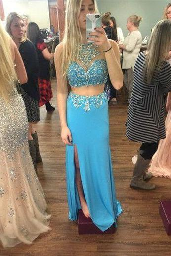 Custom Made Chiffon Prom Dresses ,Crystal Formal Gown Party Dresses,Split Two Piece Prom Dress F125