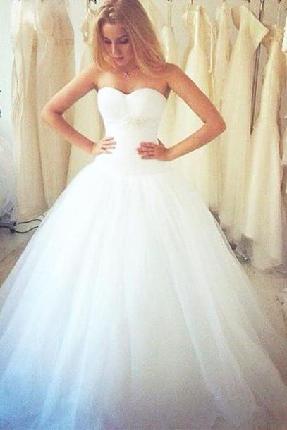 Ball Gown Wedding Dress,White Tulle Wedding Dresses,Long Bridal Gown Dress F141