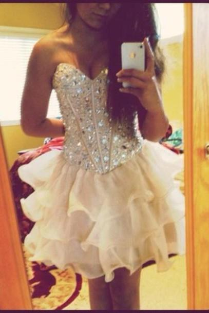 Short Prom Dresses,Sweetheart Sleeveless Backless Party Evening Dress,Crystal and Beading Prom Gown F148
