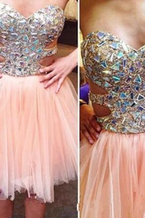 Short Cocktail Dresses, Sweetheart Sleeveless Tulle with Crystal Mini Beaded Formal Dresses Homecoming Dress F151