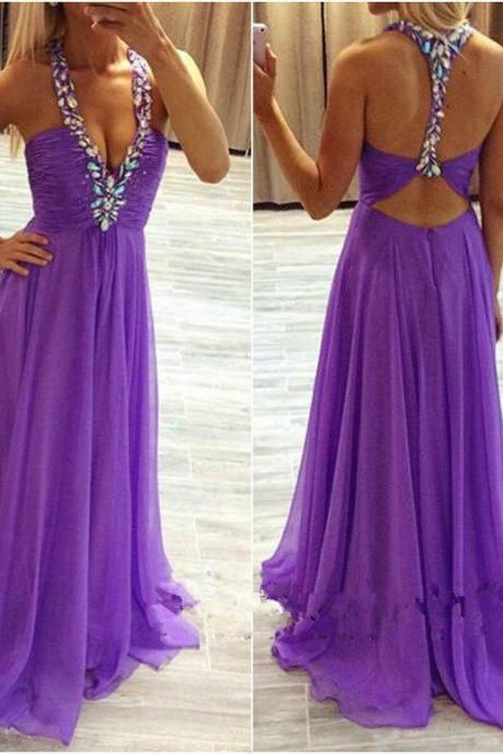 Long Prom Dress,Sleeveless Backless Chiffon with Crystal A-line Party Dresses Formal Evening Gowns F165