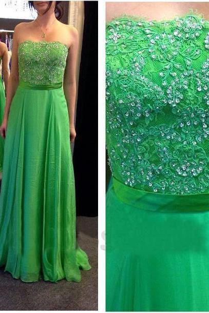 Long Prom Dress,Sleeveless Beading Party Dresses,Backless Chiffon Elegant Prom Dress F187