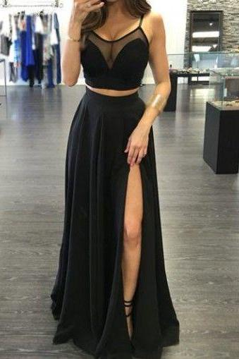 Long Prom Dress,Chiffon Black Split Side Evening Dress,Sleeveless Party Dresses,Backless Prom Dress F203