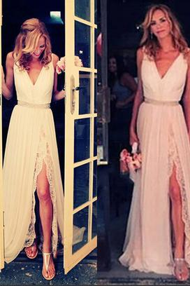 Long Prom Dress,Chiffon Split Side Evening Dress,Sleeveless Party Dresses,Backless Prom Dress F205
