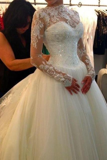 Long Sleeve Wedding Dress Ball Gown, High Neck Wedding Dresses ,Wedding Gowns F220