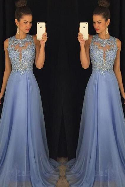 Charming Prom Dress,Sexy A Line Blue Prom Dresses,Long Prom Gown,Prom Party Dress,Formal Evening Dress F321