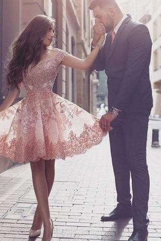 Off Shoulder Prom Dress,Sexy Prom Dress,Knee Length Prom Gown,Elegant Homecoming Dress F457