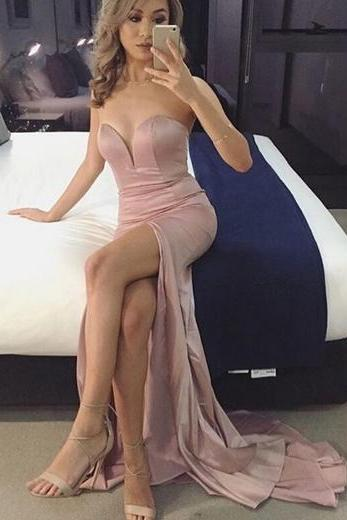 Charming Prom Dress,Sleeveless Split Side Mermaid Prom Dress,Sexy Prom Dresses,Long Evening Dress F487