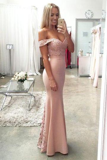 Charming Evening Dress,Mermaid Evening Dresses,Off Shoulder Backless Prom Dress F525
