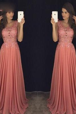 Sleeveless Chiffon Prom Dress,Sexy Prom Dresses,Long Prom Dress,Formal Gown F780