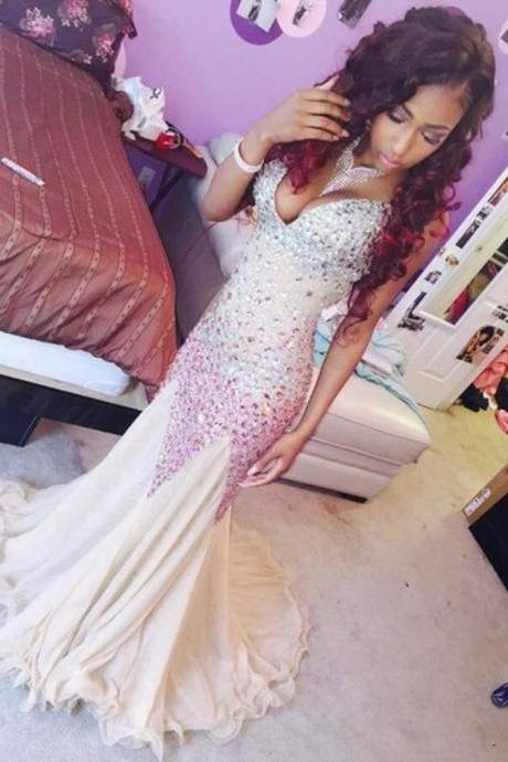 New Arrival Long Evening Dress,Sleeveless Prom Dresses,Sexy Prom Dresses,Mermaid Evening Gowns F963