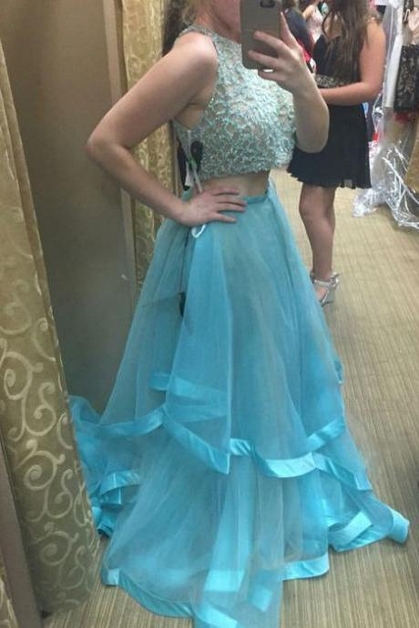 Sexy Prom Dress,Sleeveless Two Piece Prom Desse, Evening Dress,Long Evening Gowns,Formal Dress F1057