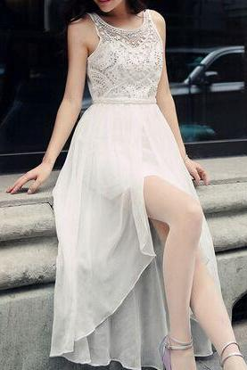 Sexy Prom Dress,Sleeveless Chiffon Prom Desse, Evening Dress,Long Evening Gowns,Formal Dress F1059