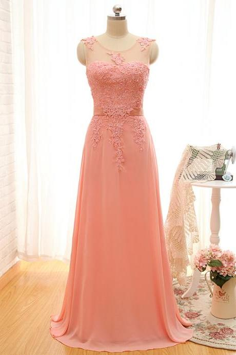 Sexy Prom Dress,Sleeveless Chiffon Prom Dress,Appliques Evening Dress,Long Evening Gowns F1088