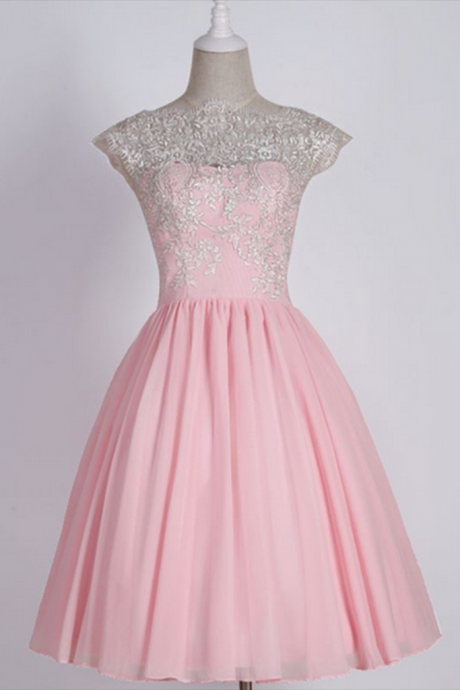 Elegant Prom Dress,Beaded Short Homecoming Dress,Pink Prom Gown F1089