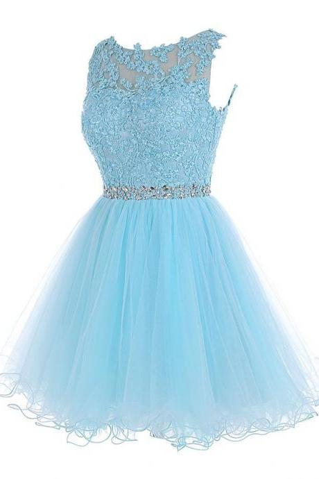 Elegant Prom Dress,Appliques Short Homecoming Dress,Tulle Prom Gown F1090