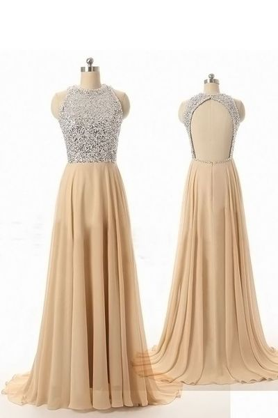 Sleeveless Prom Dress ,Simple Chiffon Prom Dresses,Long Evening Dress,Formal Gowns F1256