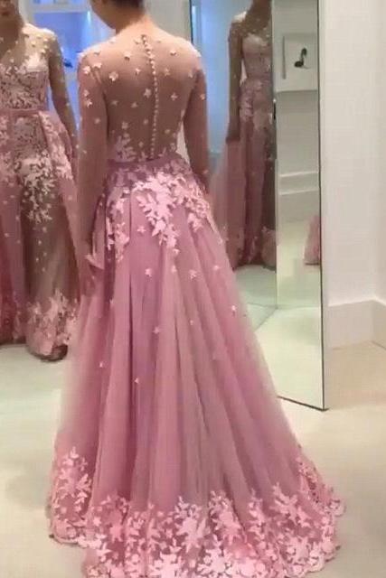 New Arrival Long Sleeve Prom Dress,Appliques Tulle Evening Dress,Sexy Party Dress,Wedding Party Dress F1292