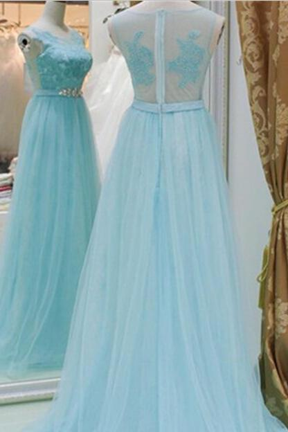 New Arrival Baby Blue A Line Evening Dresses, Lace Top See Though Prom Dress F1323
