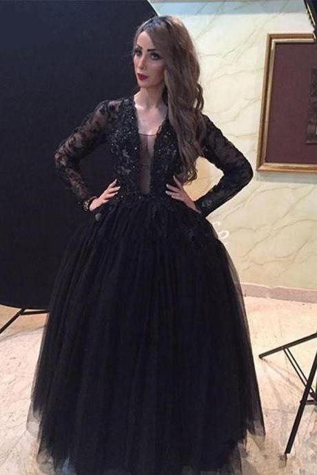 Black Long Sleeve Lace Prom Dresses Ball Gown Sequin Tulle Evening Dresses F1405