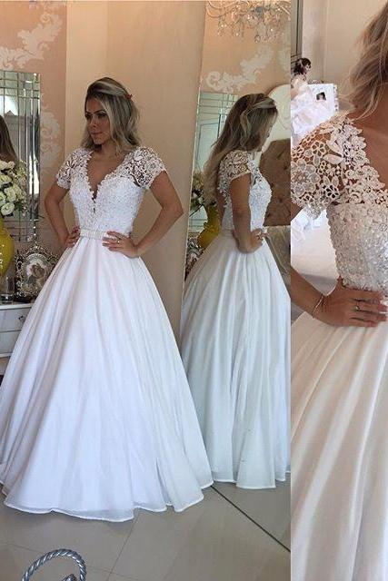 A Line Evening Dress, Lace Appliques Prom Dress with Pearls,Short Sleeve Prom Dresses,Formal Dress F1435