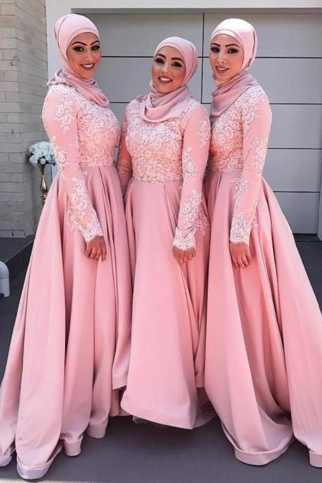 Long Sleeve Appliques Prom Dress with Lace, Evening Dress,Sexy Prom Dress,Long Evening Dress,Formal Gown F1486