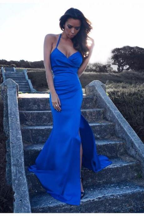 New Royal Blue Prom Dress V Neck with Spaghetti Strap Side Split Sexy Long Mermaid Prom Party Gown Women Dress F1522