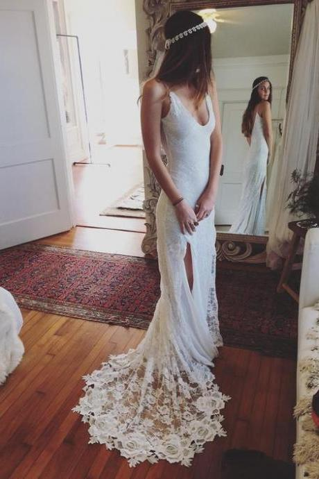 Mermaid Lace Wedding Dress,Sexy Wedding Dresses,Bridal Dress F1675