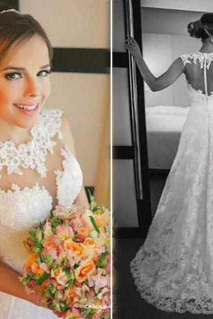 Lace Wedding Dress,A Line Beautiful Wedding Gowns,Bridal Dress F1682