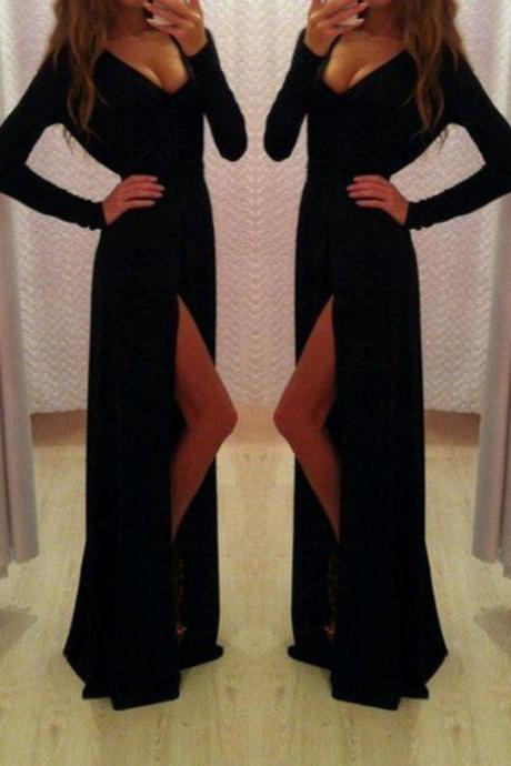 Charming Prom Dress,Black Long Sexy Chiffon Party Dress,Long Sleeve Split Side Prom Dresses,Formal Dress F1726