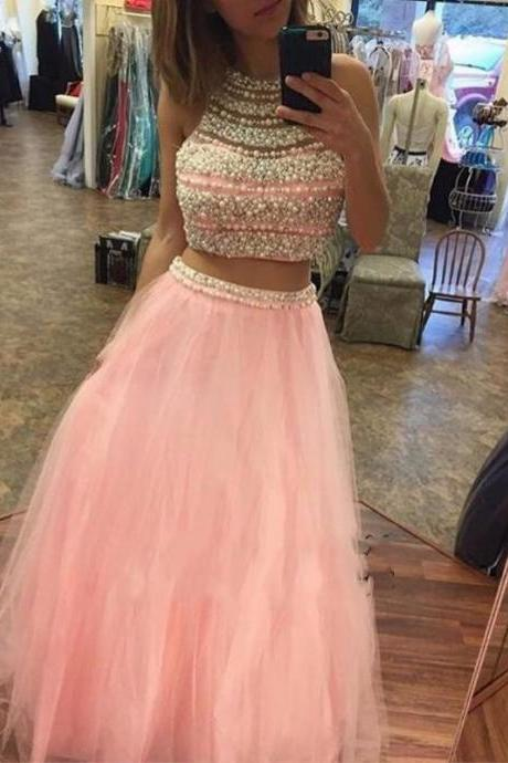 Charming Prom Dress,Elegant Prom Dress,Long Homecoming Dress,Beaded Evening Dress,Two Piece Homecoming Dresses F1864