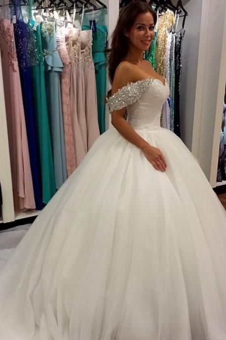 Charming Tulle Ball Gown Wedding Dress,Off Shoulder Wedding Dresses,Sleeveless Bridal Dresses