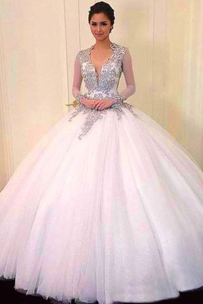 Charming Prom Dress, Appliques Ball Gown Prom Dress, Floor Length Tulle Prom Dresses,Elegant Quinceanera Dresses F1887