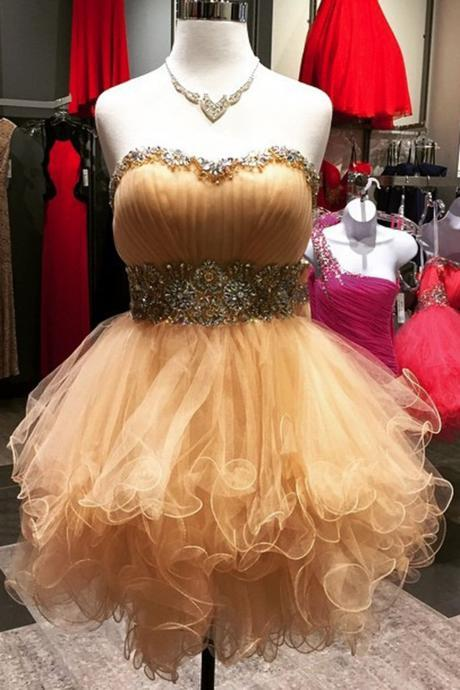 Charming Prom Dress,Cute Ruffles Prom Dresses,Tulle Prom Gown,Strapless Prom Dresses F1892