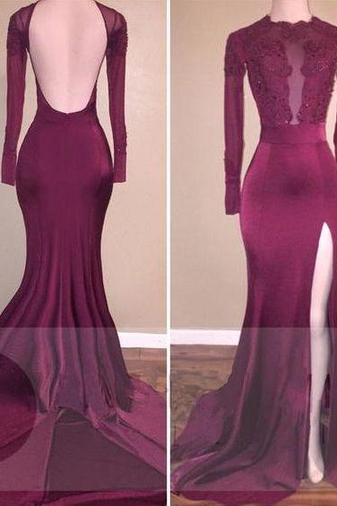 Charming Prom Dress,Full Sleeve Split Side Evening Dresses,Open Back Evening Dress F1988